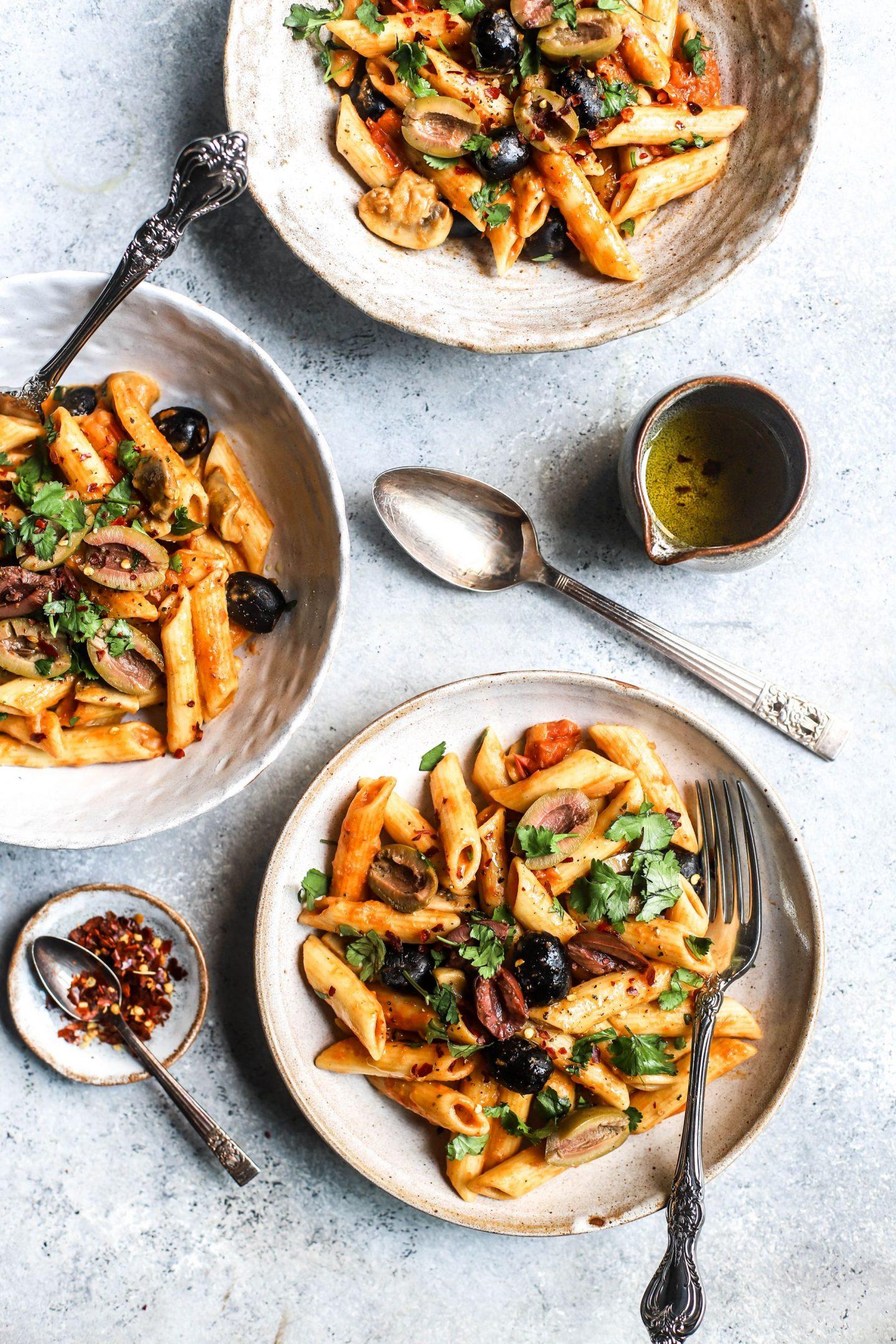 One Pan Olive & Tomato Pasta